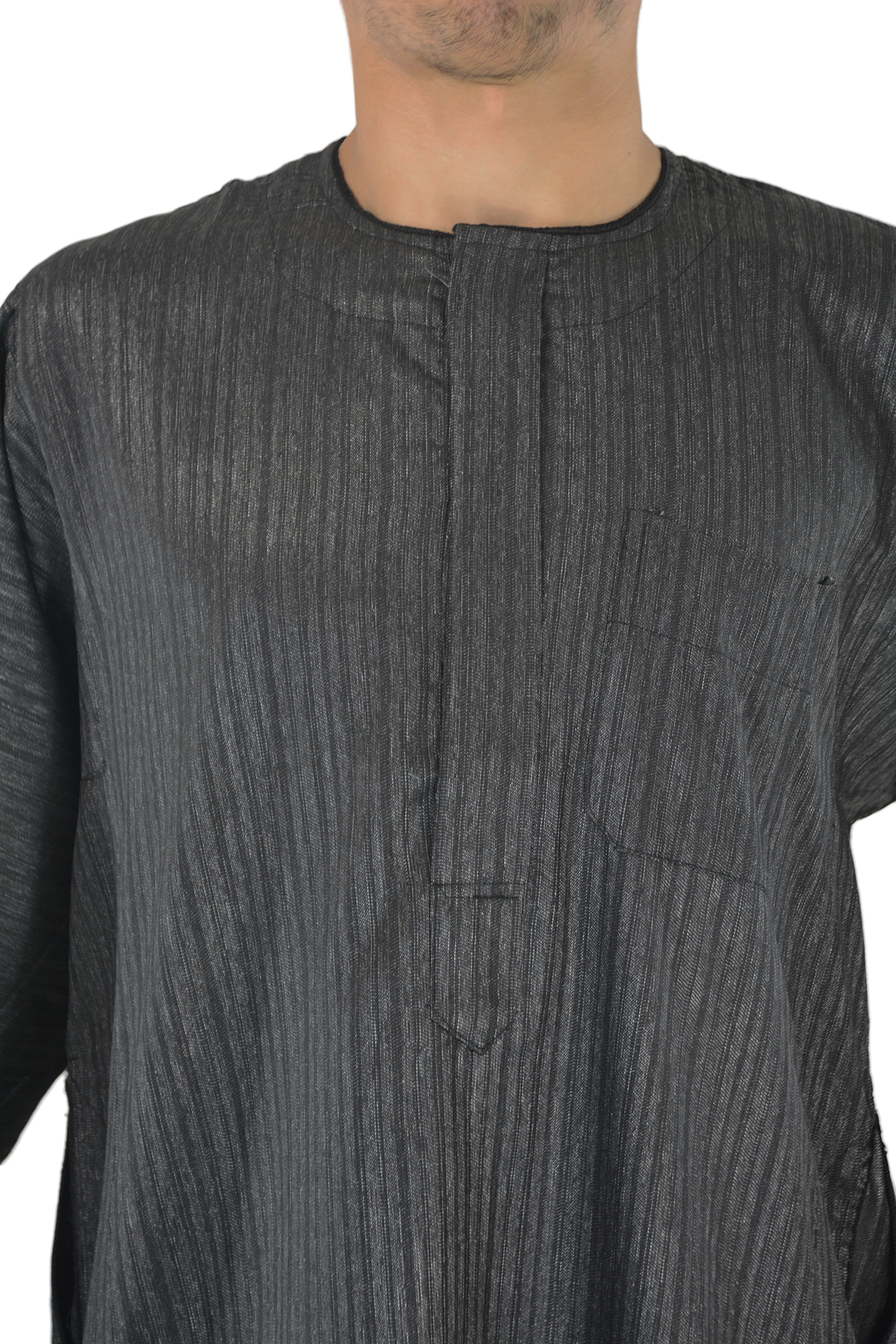 Gray Wide Sleeve Thobe with Button up Front and Pocket 2