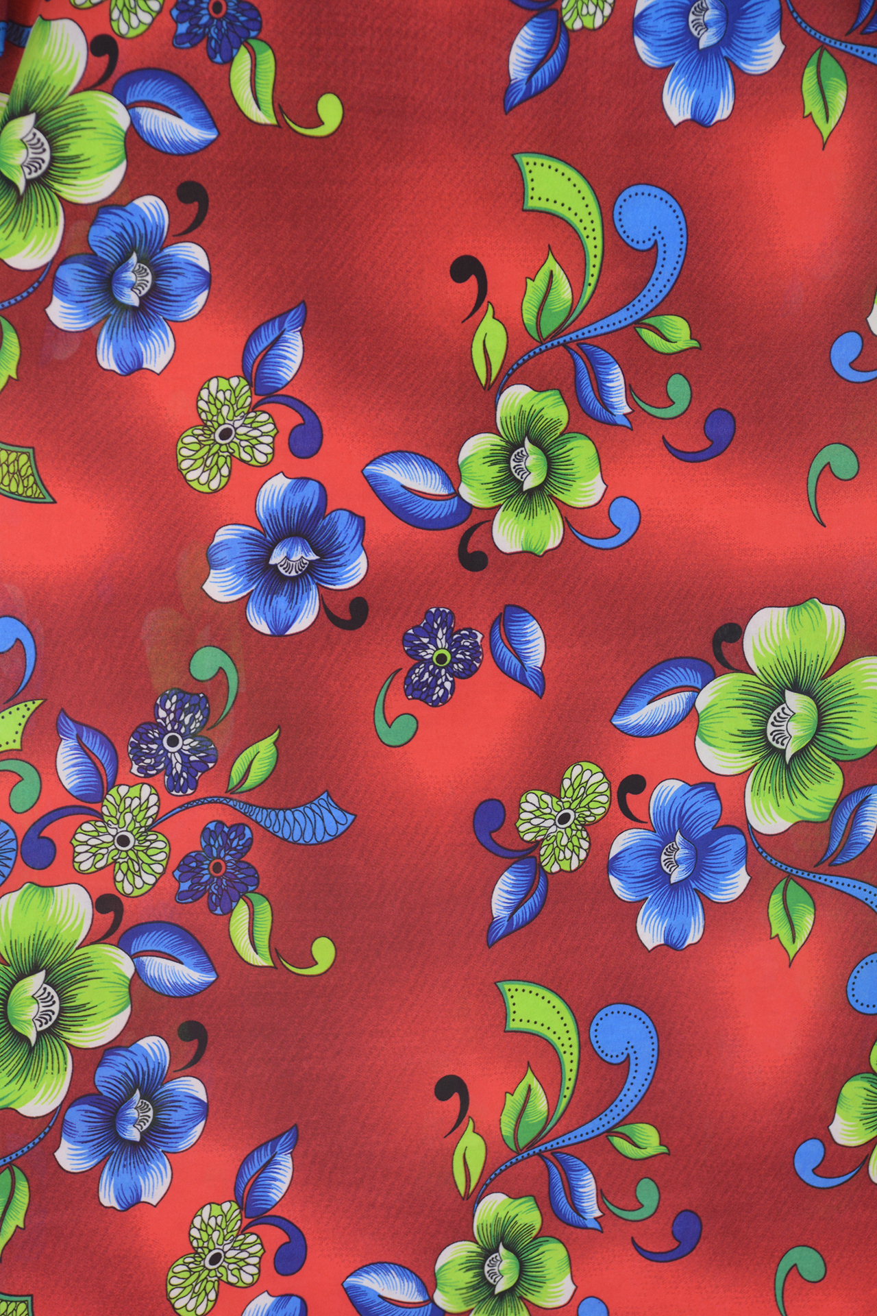 Floral Clovers Red and Green/Blue Print 1