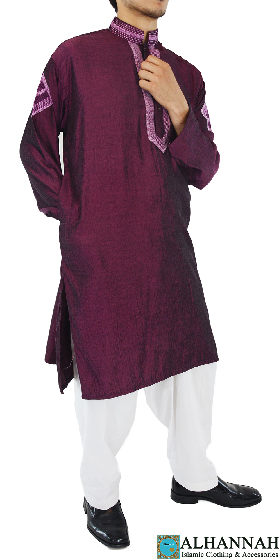 ME712 Abbasi Mens Maroon Embroidered Salwar with Button up front