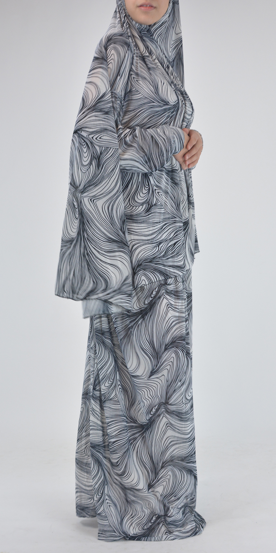 Abstract Black and White Swirls Print - Two Piece Prayer Outfit PS427 2