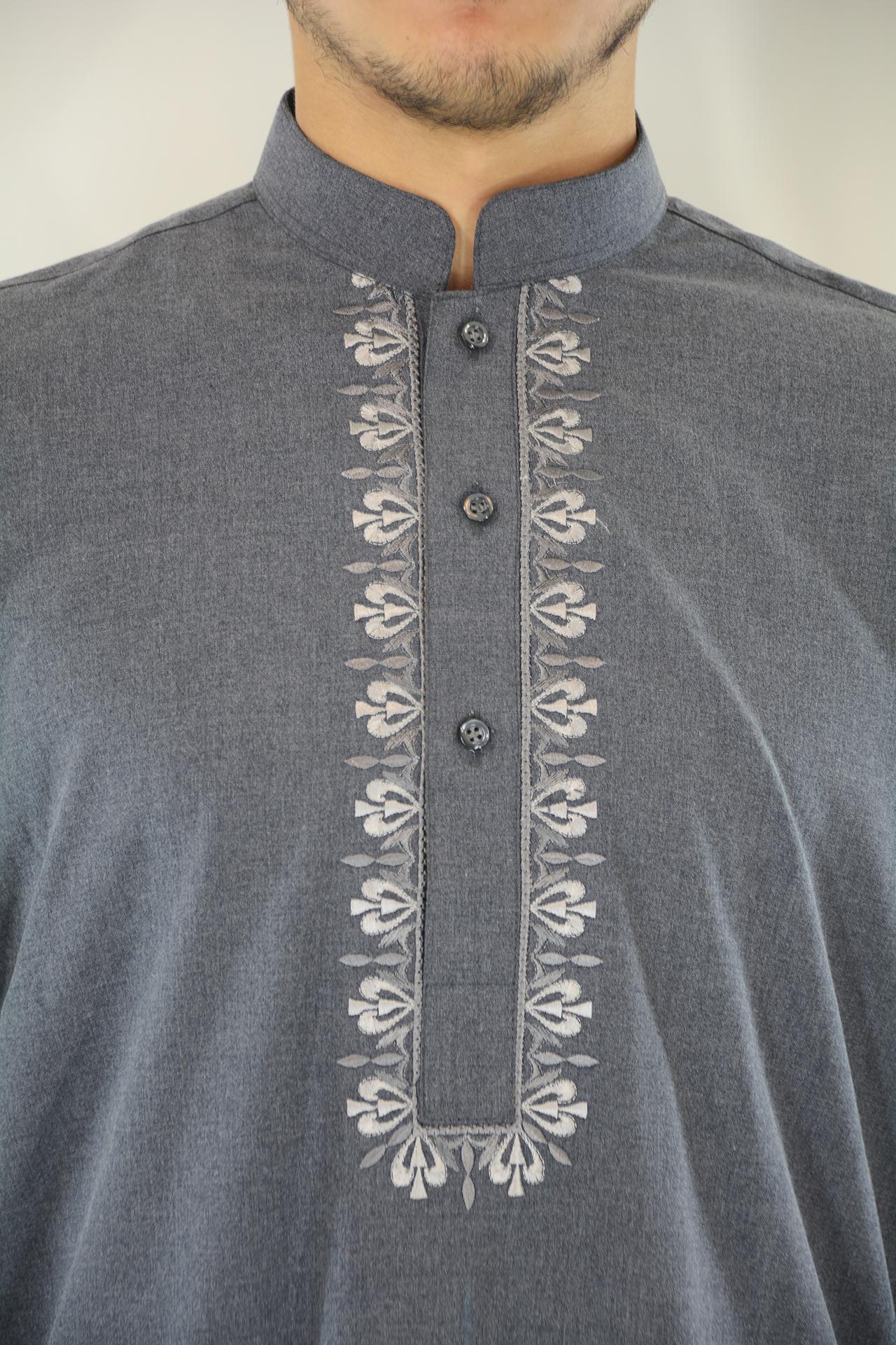ME711 Afzal Mens Gray Embroidered Button up Salwar Kameez closeup