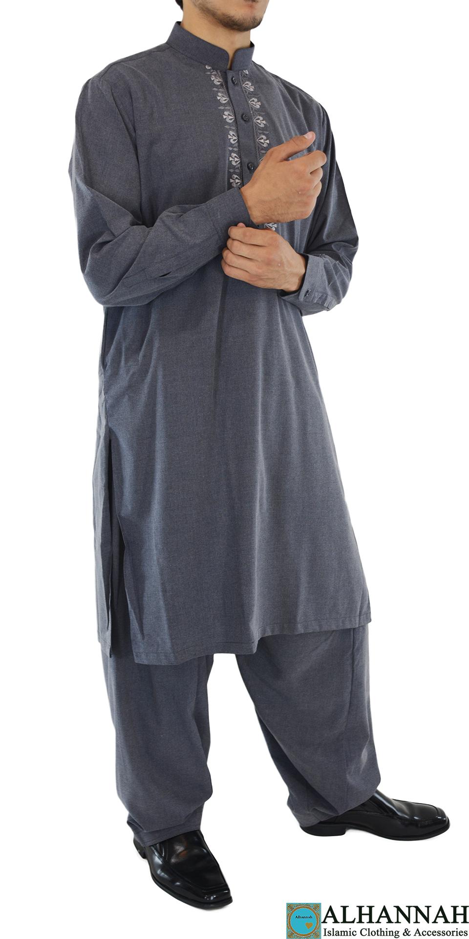 ME711 Afzal Mens Gray Embroidered Button up Salwar Kameez