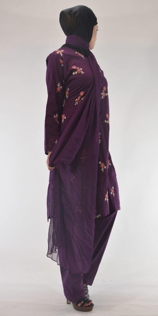 Areej Salwar Kamees Floral Swirls Embroidery - Comfortable Soft Cotton SK1236 Purple 2