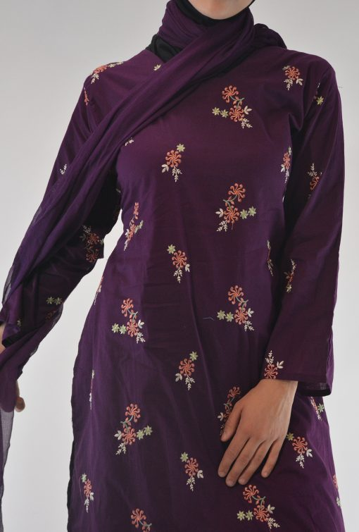 Areej Salwar Kamees Floral Swirls Embroidery - Comfortable Soft Cotton SK1236 Purple 3
