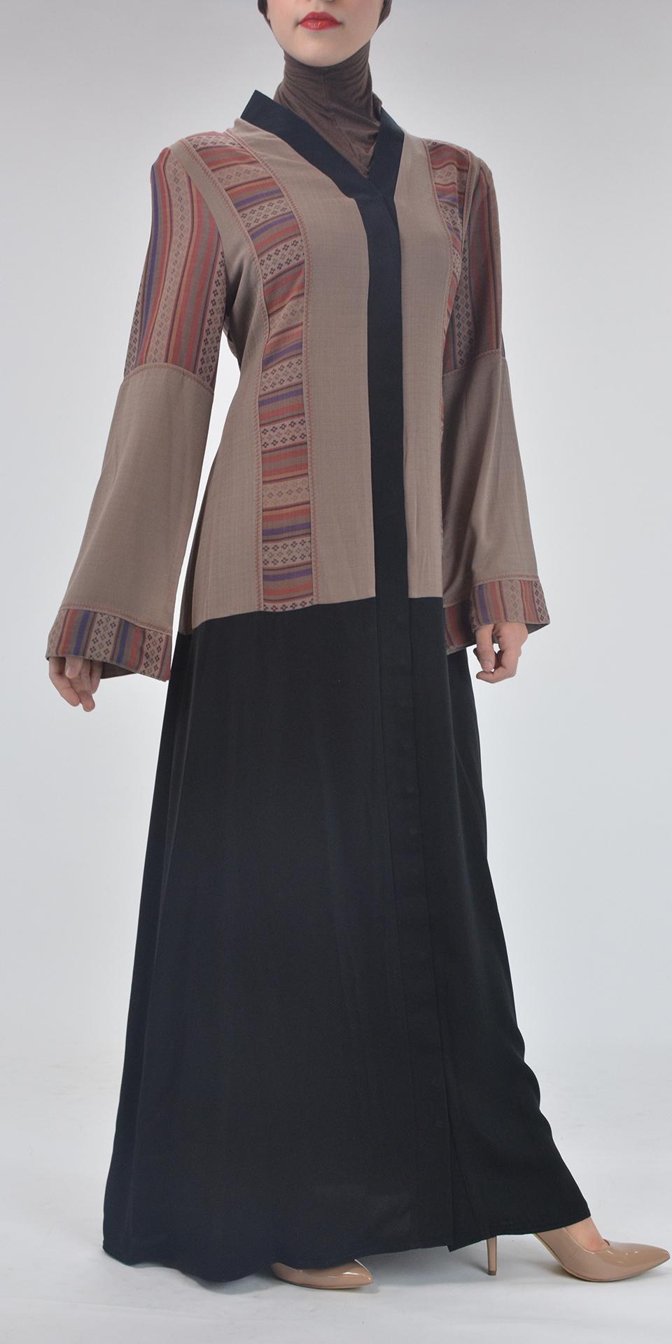 Aztec Flare Abaya - Full Length Zipper ab692
