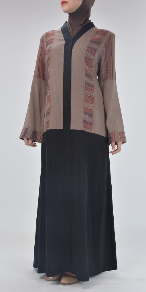 Aztec Flare Abaya - Full Length Zipper ab692 (2)