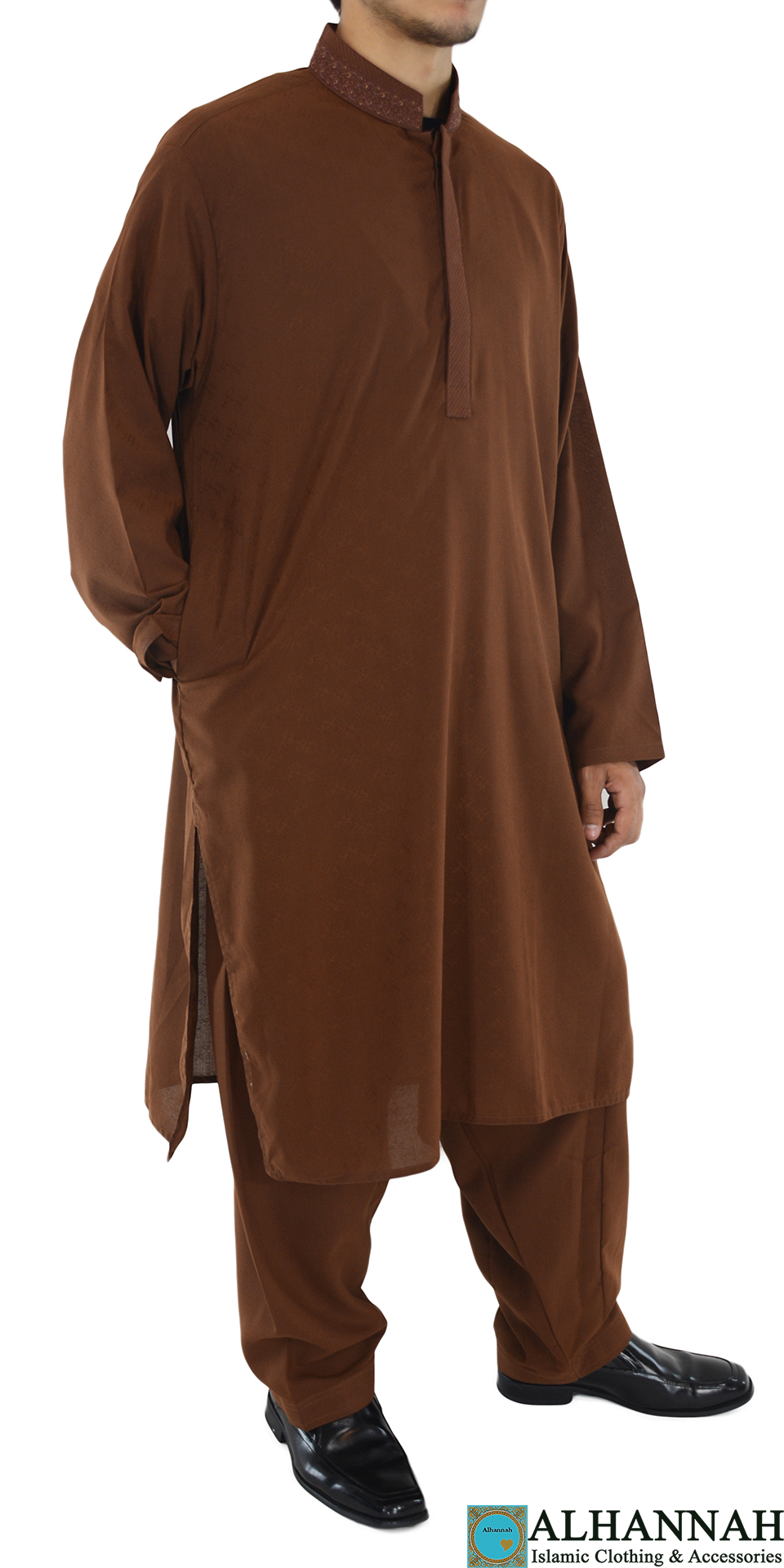 ME710 Badar Mens Brown Embroidered Button up Salwar Kameez