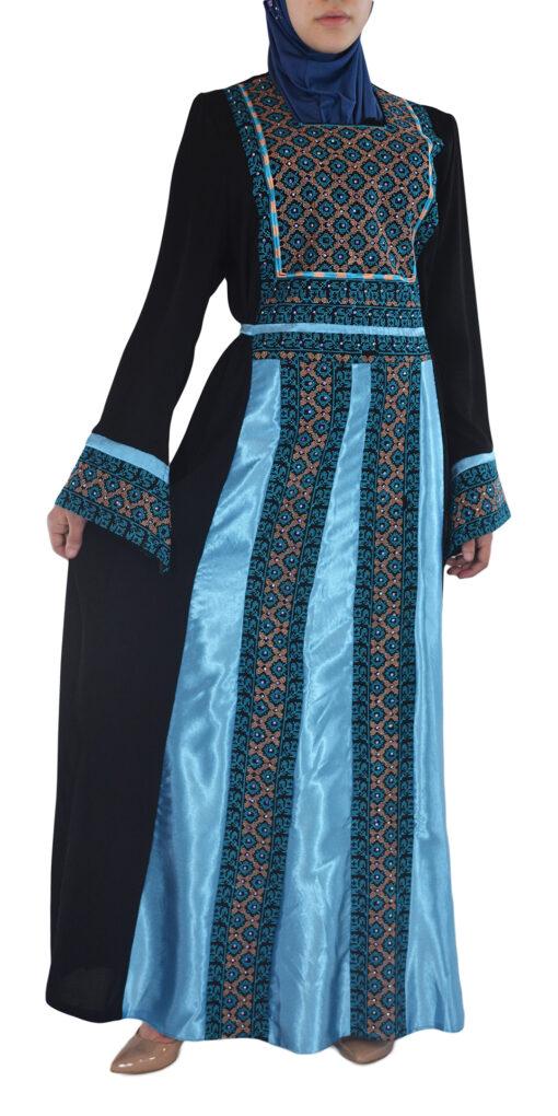 Blue-Diamond Embroidered Ghaniyah Thobe TH782 2