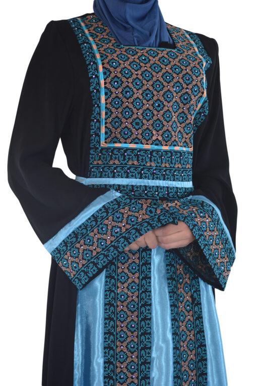 Blue-Diamond Embroidered Ghaniyah Thobe TH782 3