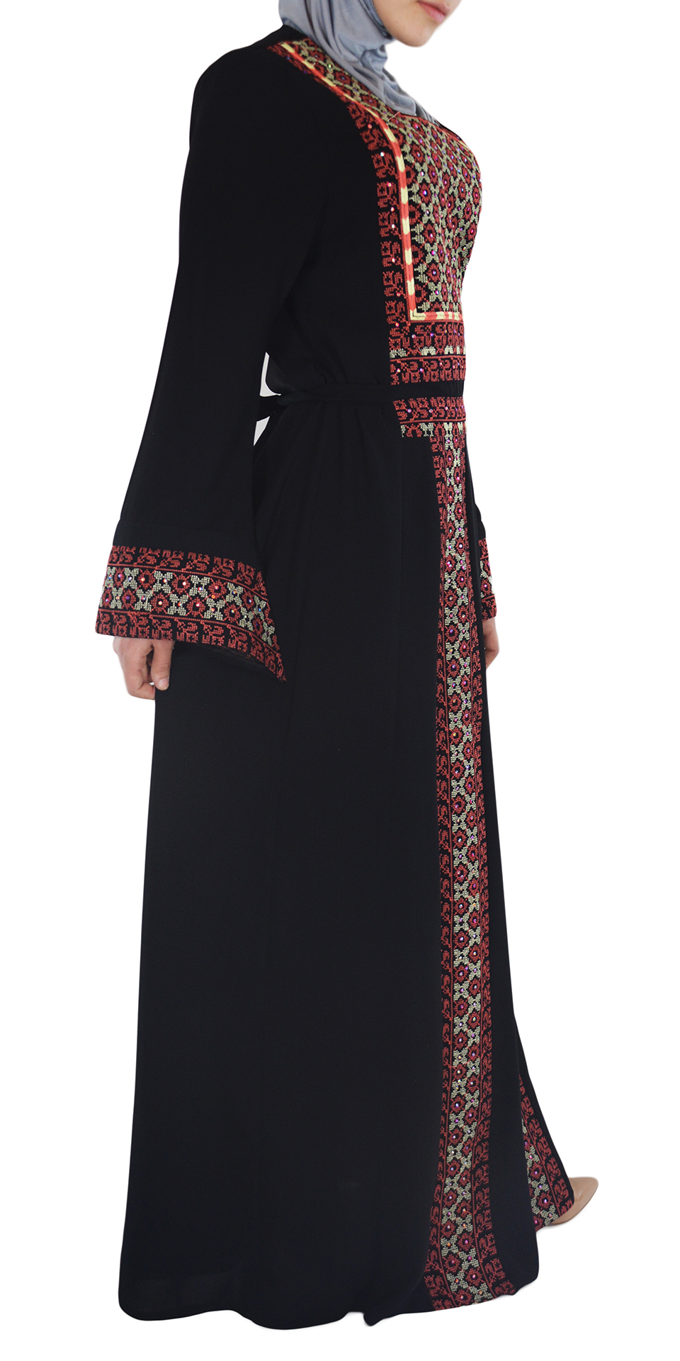 Coral Embroidered Ghaniyah Thobe TH781 4