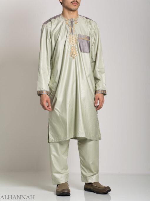 Farrokh Mens Ivory Embroidered Button up Salwar Kameez ME709 (1)