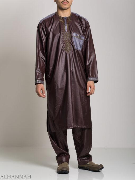Farrokh Mens Ivory Embroidered Button up Salwar Kameez ME709 (2)
