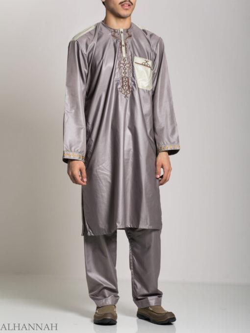 Farrokh Mens Ivory Embroidered Button up Salwar Kameez ME709 (4)