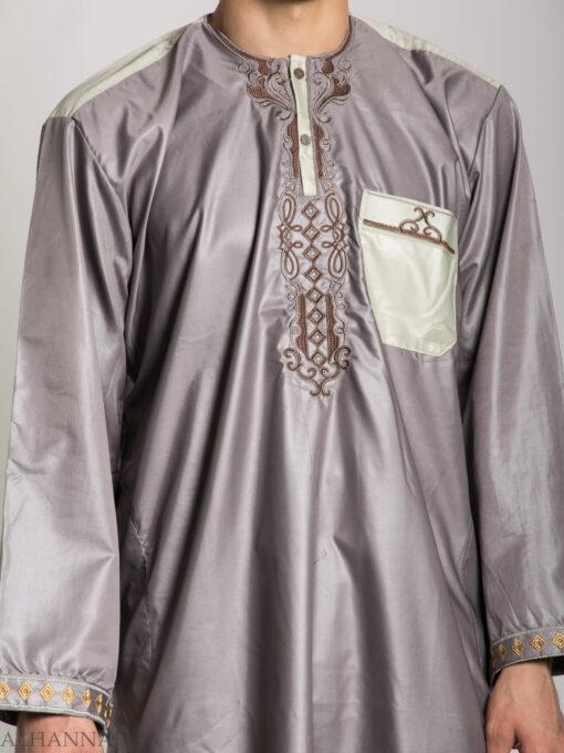 Farrokh Mens Ivory Embroidered Button up Salwar Kameez ME709 (5)