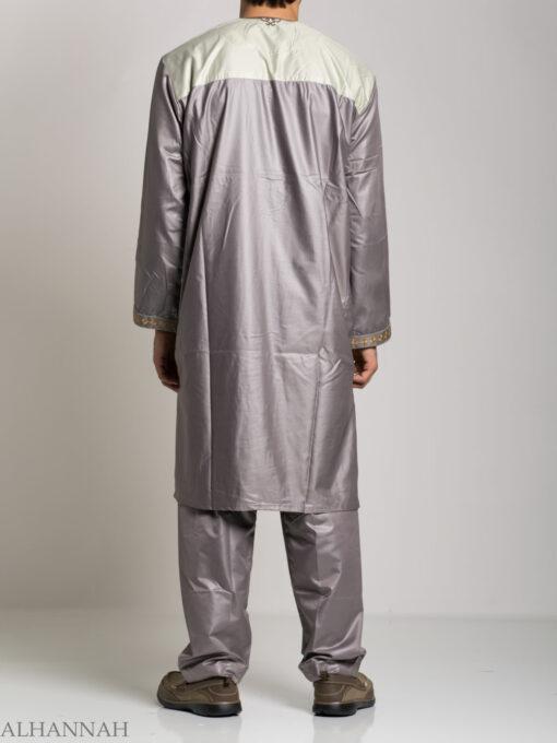 Farrokh Mens Ivory Embroidered Button up Salwar Kameez ME709 (7)