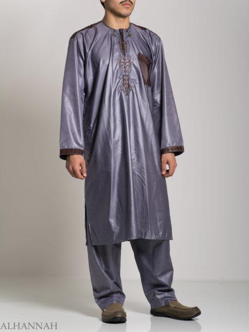 Farrokh Mens Ivory Embroidered Button up Salwar Kameez ME709 (8)