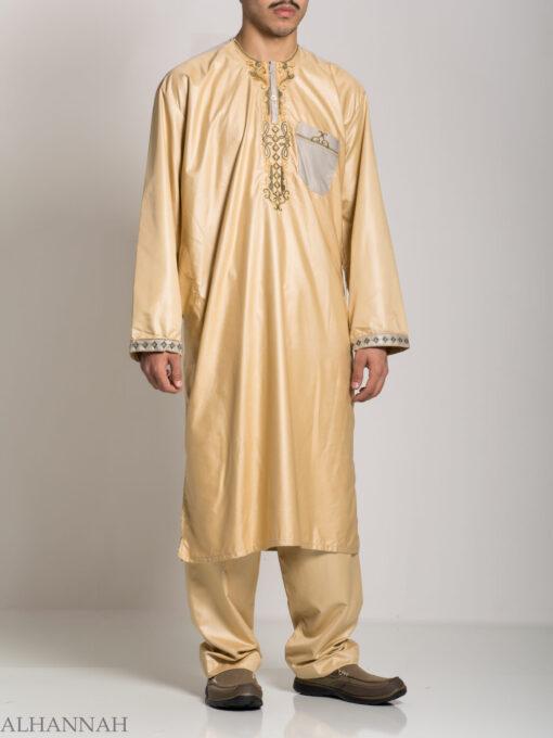 Farrokh Mens Ivory Embroidered Button up Salwar Kameez ME709 (9)