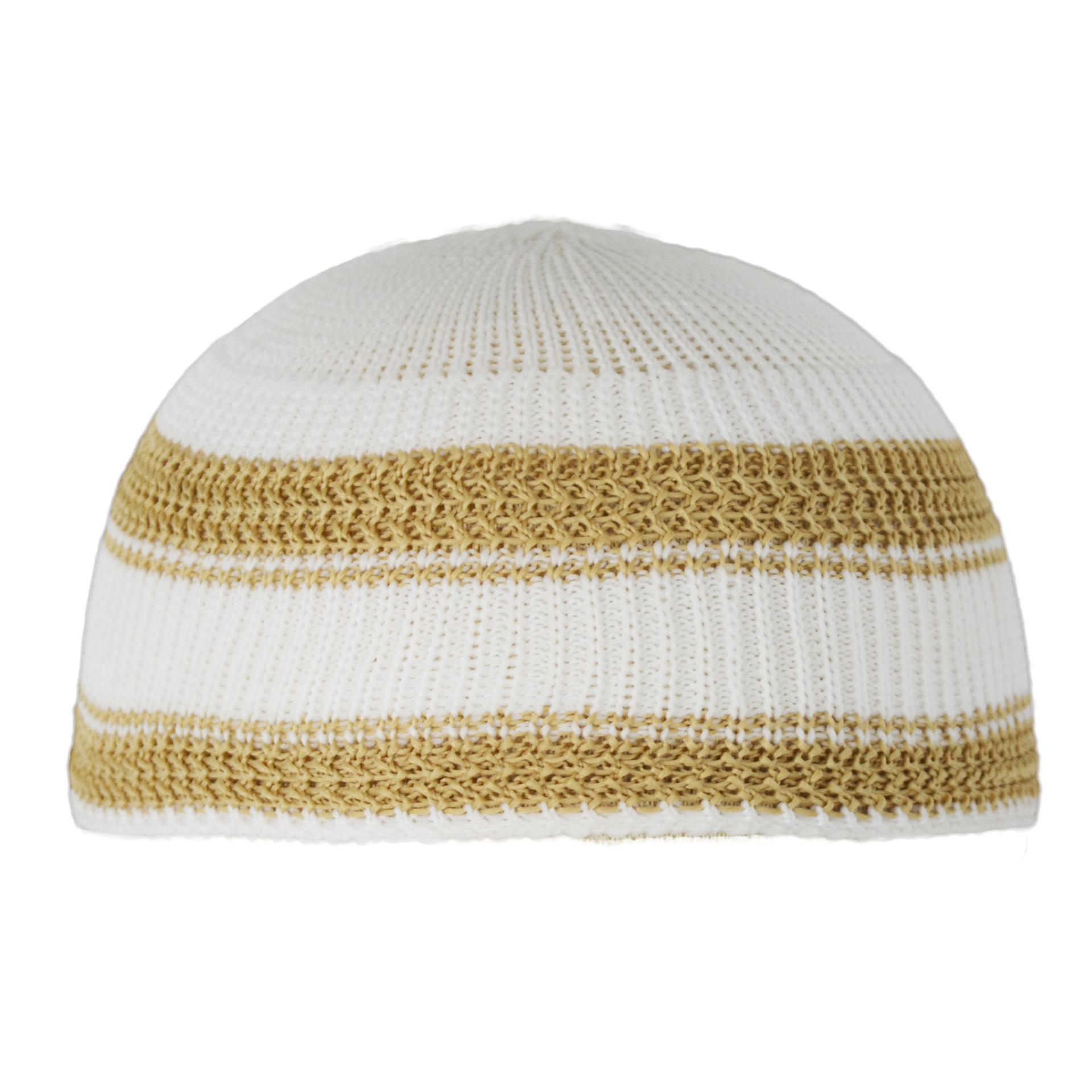 Knitted Kufi with Bold Solid Color Lines ME716 Khaki