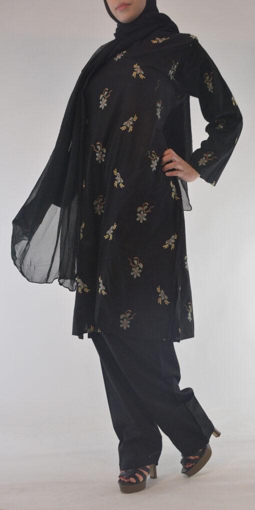 Lamees Salwar Kamees Butterfly Floral Pattern - Comfortable Soft Cotton SK1237 Black