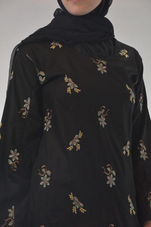 Lamees Salwar Kamees Butterfly Floral Pattern - Comfortable Soft Cotton SK1237 Black closeup