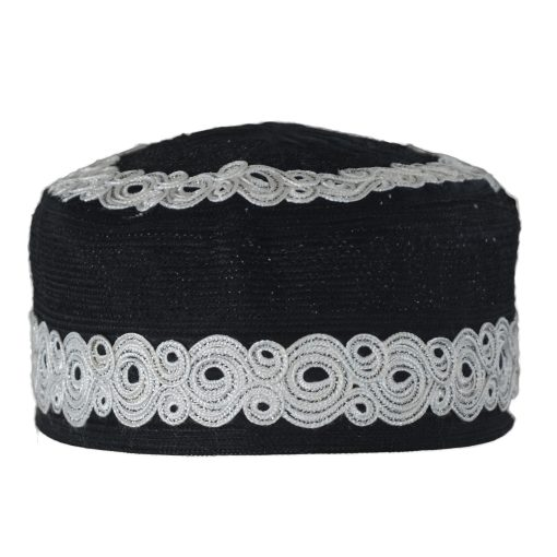 Mens Embroidered Kufi HatMuslim Cap with Spirals and Mosque Dome Designs - ME719 Black