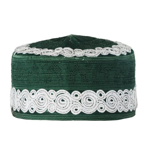 Mens Embroidered Kufi HatMuslim Cap with Spirals and Mosque Dome Designs - ME719 Green