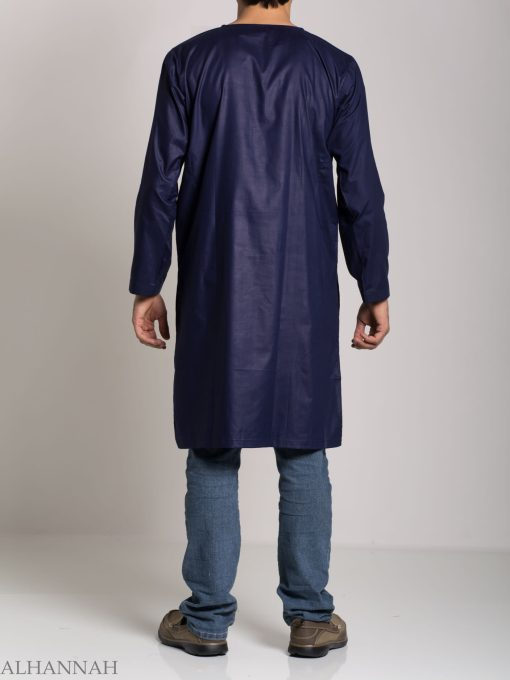 Men's Solid Color Kurta Shirt with Button up Front - Soft Cotton ME718 (1)