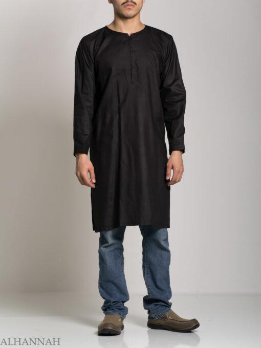 Men's Solid Color Kurta Shirt with Button up Front - Soft Cotton ME718 (4)