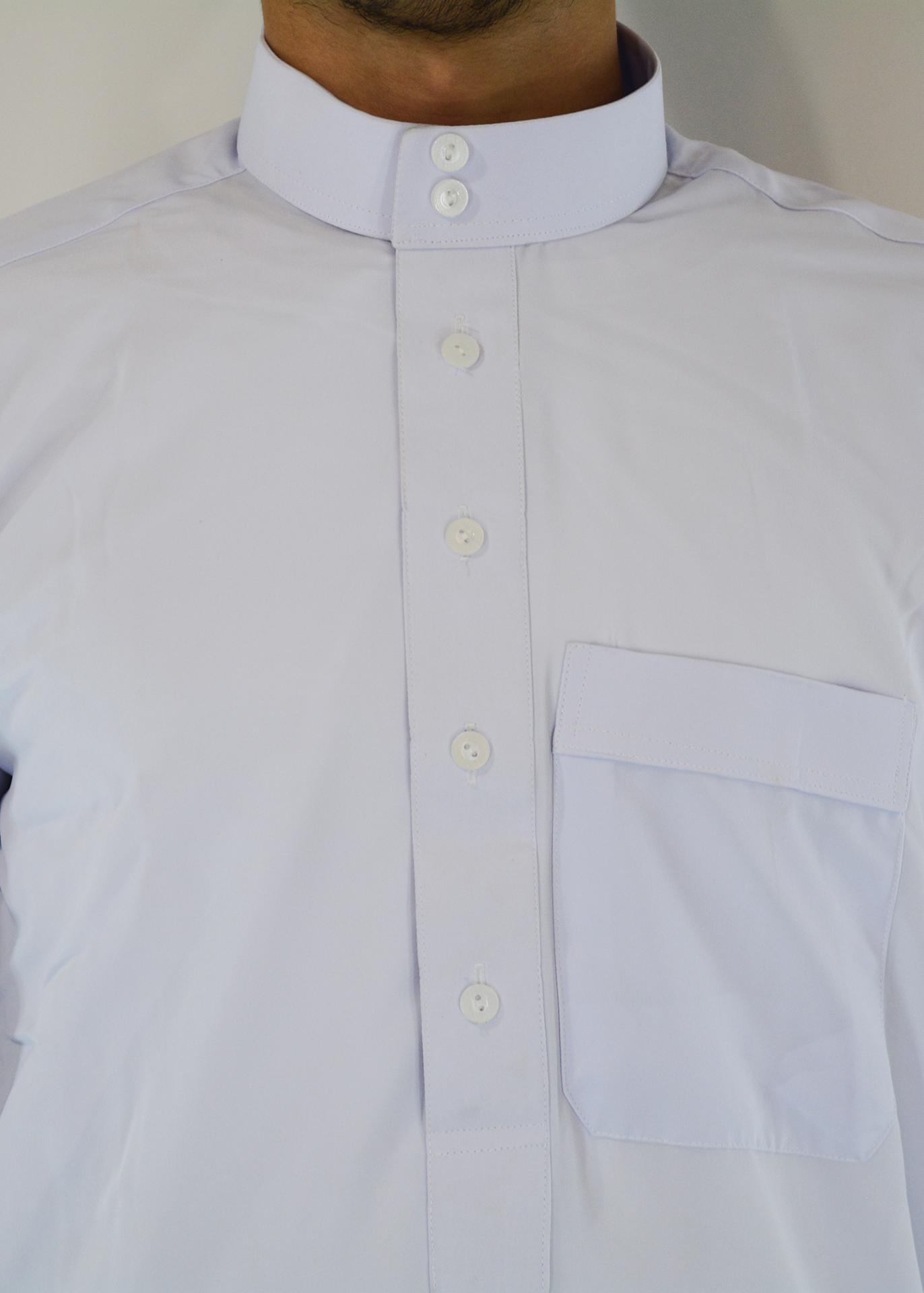 Musabi White Salwar Kameez with Button up front and Collar closeup ME708