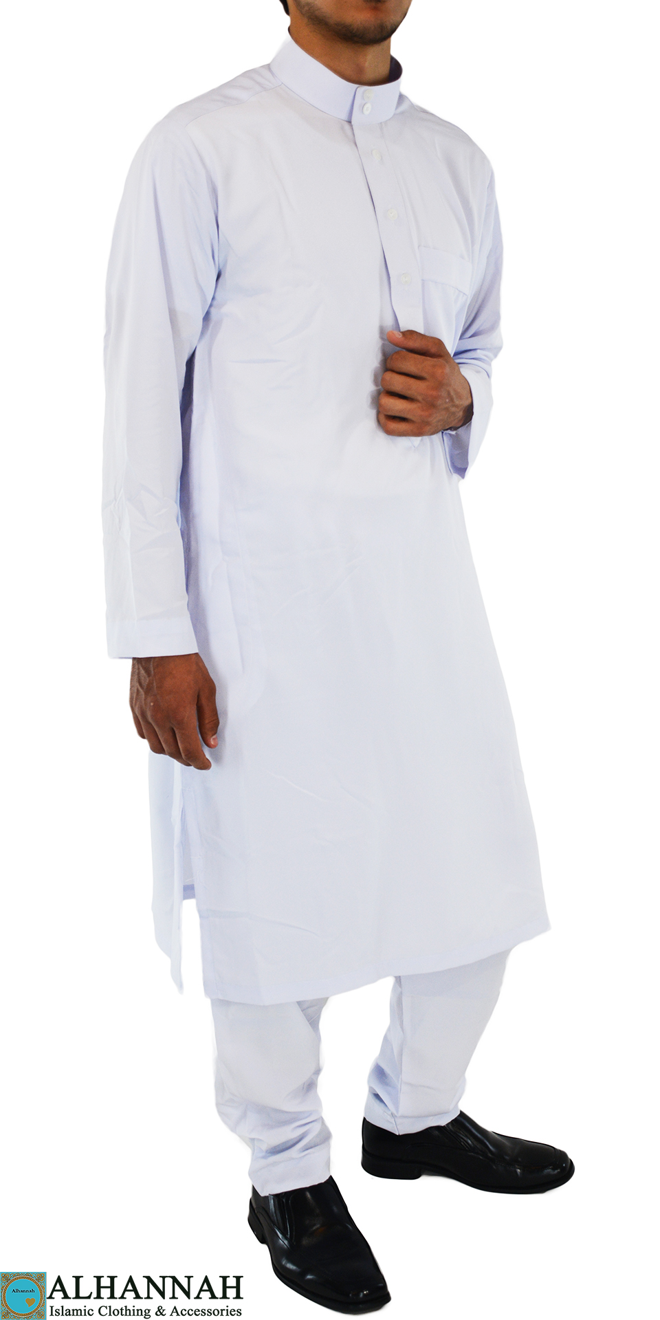 Musabi White Salwar Kameez with Button up front and Collar ME708