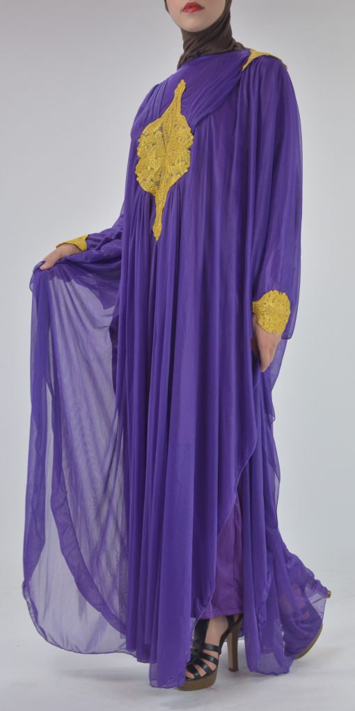 Premium Chiffon Embroidered Multi-Layer Abaya Multicolored ab693