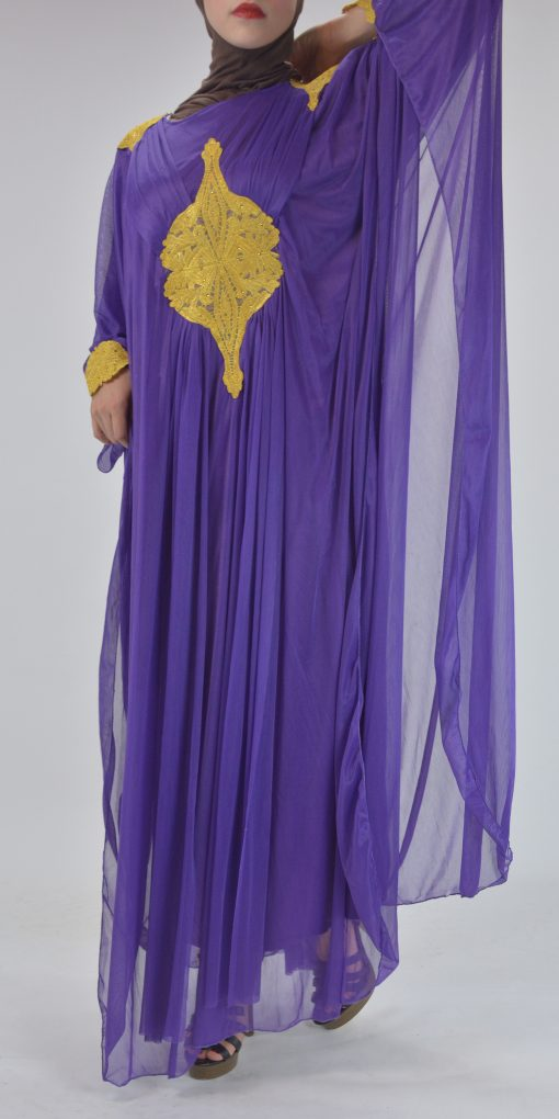 Premium Chiffon Embroidered Multi-Layer Abaya Multicolored ab693 Pink 5