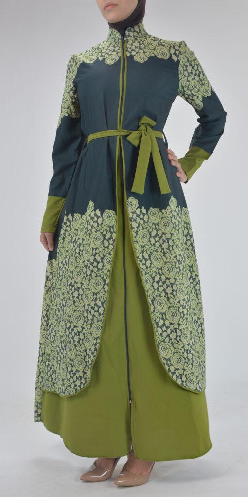 Sabra Spring Bloom Abaya - Full Length Zipper ab688 2