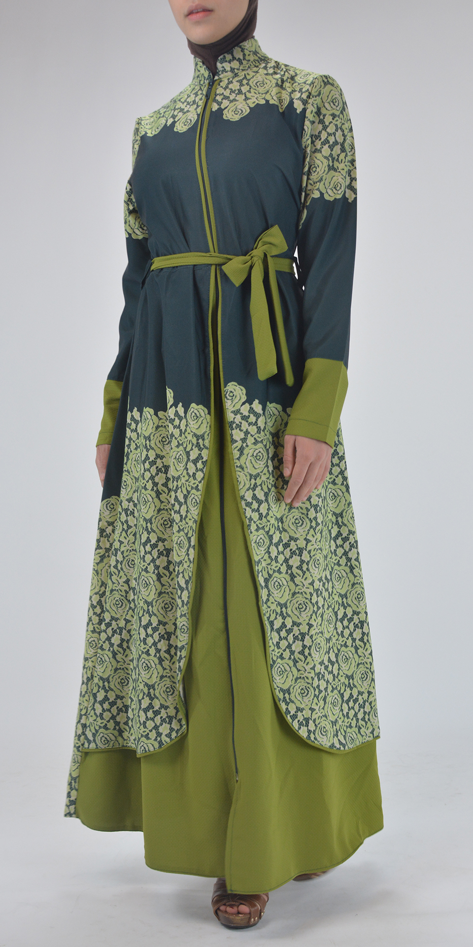 Sabra Spring Bloom Abaya - Full Length Zipper ab688