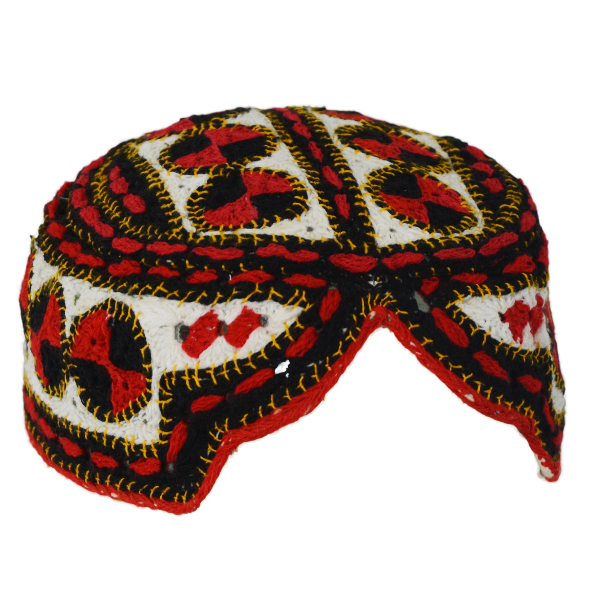 Sindhi Cap Shisha Embroidered Topi with Circular Multicolored Patterns ME713 Black and White