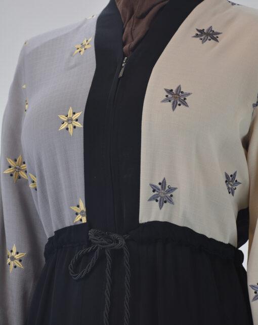 Starflower Rhinestone Abaya - Full Length Zipper ab691 (3)