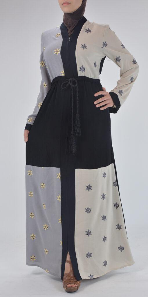 Starflower Rhinestone Abaya - Full Length Zipper ab691 (5)