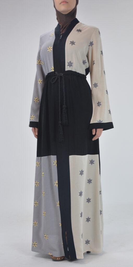 Starflower Rhinestone Abaya - Full Length Zipper ab691