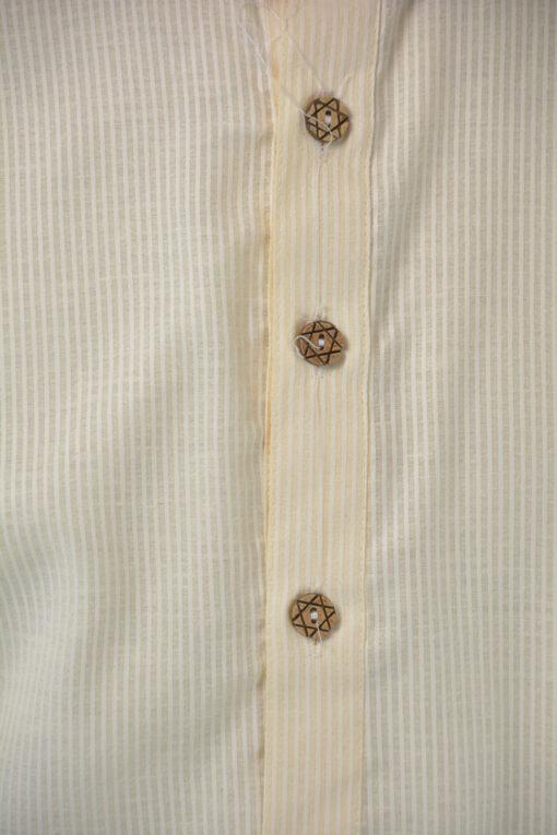 Striped Long Cotton Kurta Shirt with Wooden Buttons Cream (2)