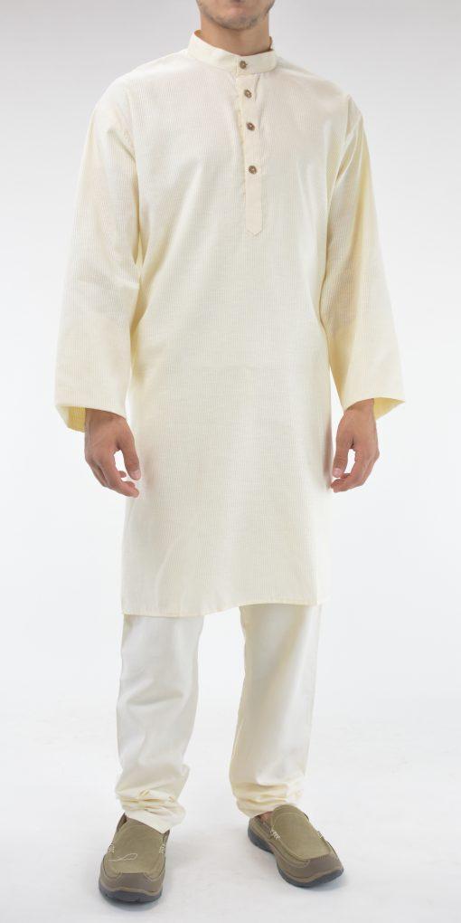 Striped Long Cotton Kurta Shirt with Wooden Buttons Cream 4
