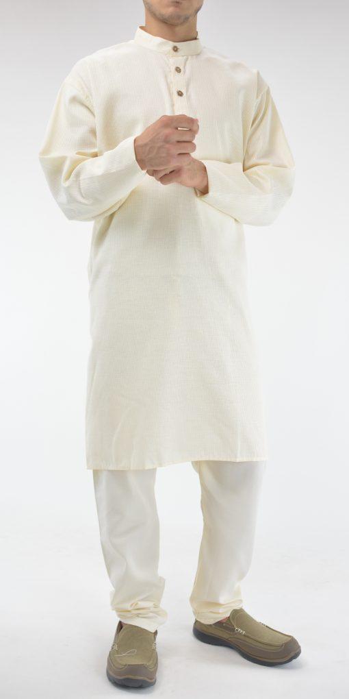 Striped Long Cotton Kurta Shirt with Wooden Buttons Cream