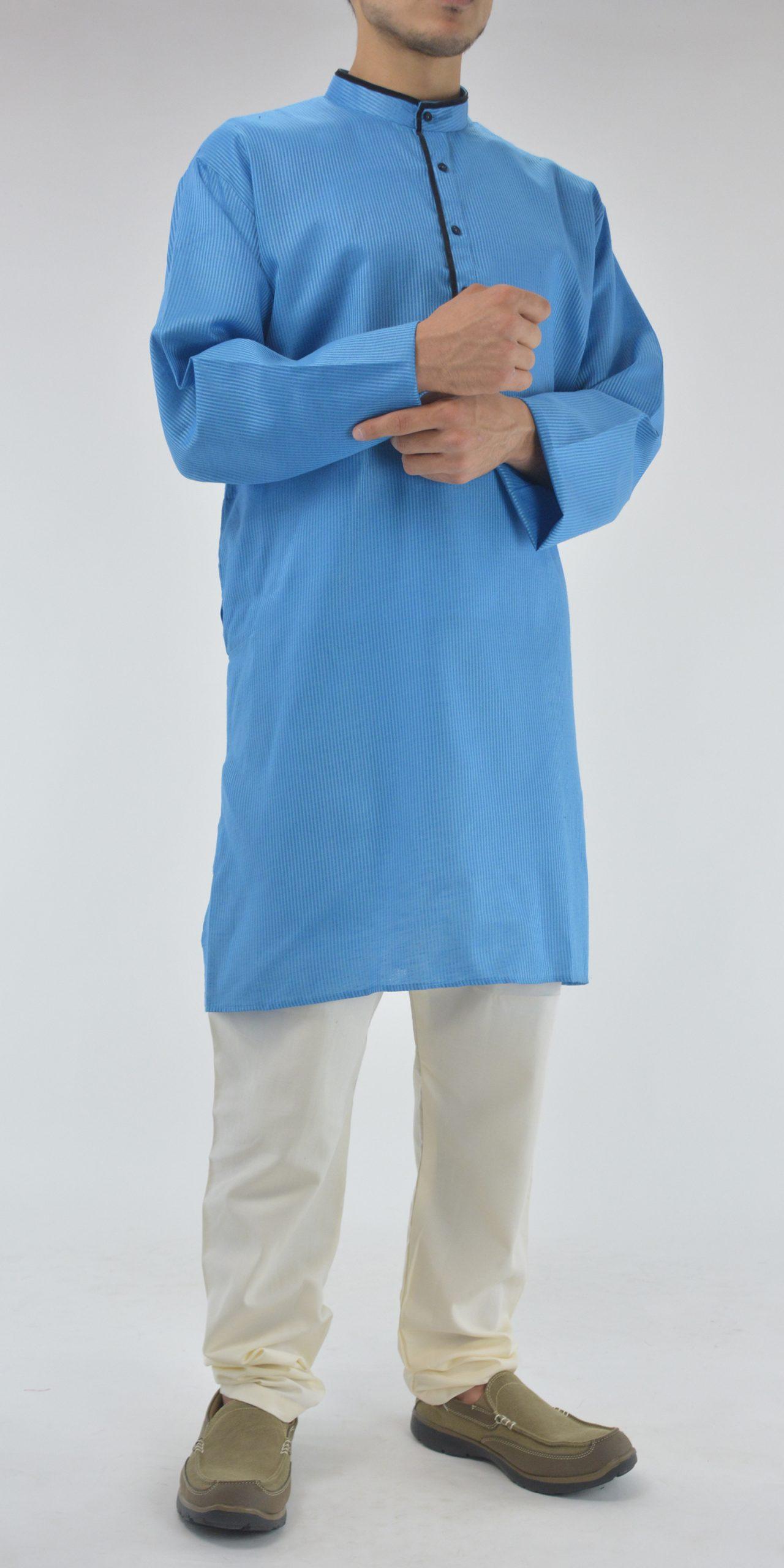 Striped Long Kurta Shirt with Velvet Lining Sky-Blue 3