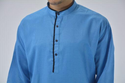 Striped Long Kurta Shirt with Velvet Lining Sky-Blue 4