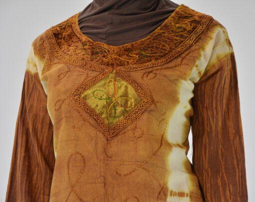 Tie-Dye Crushed Cotton Velvet Retro 70s Salwar Kameez 4