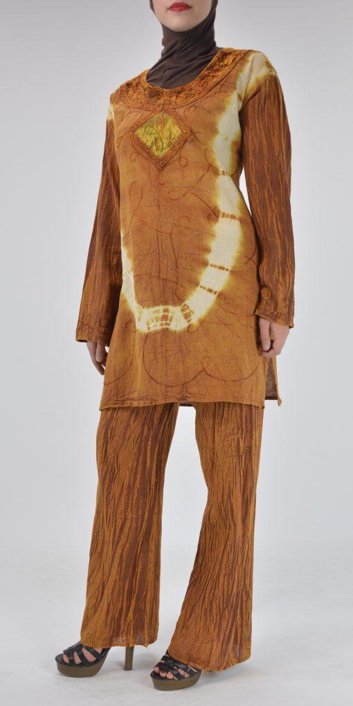 Tie-Dye Crushed Cotton Velvet Retro 70s Salwar Kameez