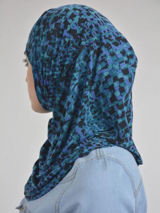 Abstract Cubes Print Two Piece Al-Amira Hijab HI2111 Aqua3