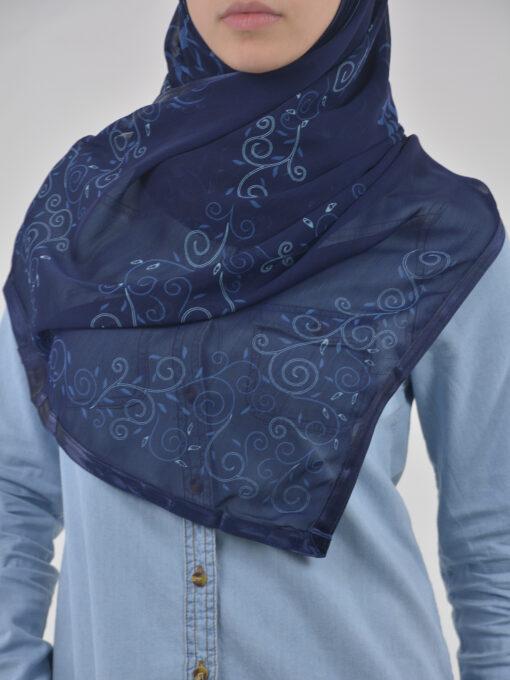 Abstract Floral Vine Swirls Kuwaiti-Wrap Hijab HI2126 (2)