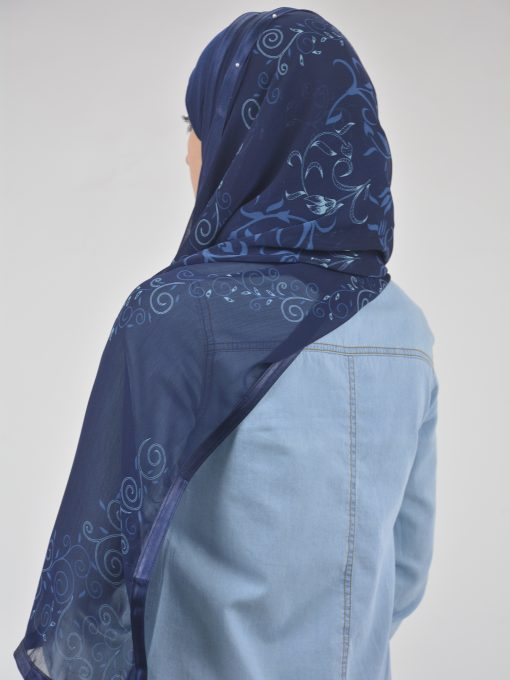 Abstract Floral Vine Swirls Kuwaiti-Wrap Hijab HI2126 (4)