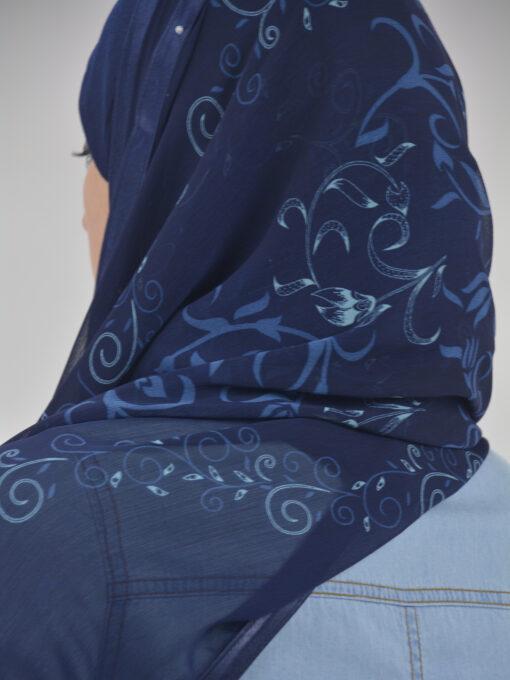 Abstract Floral Vine Swirls Kuwaiti-Wrap Hijab HI2126 (6)