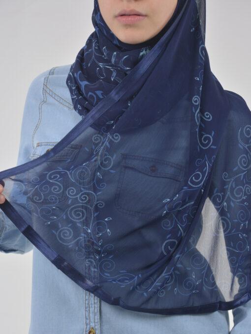 Abstract Floral Vine Swirls Kuwaiti-Wrap Hijab HI2126 (7)